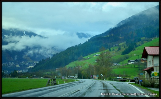 Driving into the Austrian Alps