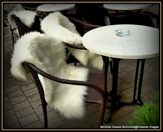Sasha's- the snow-white fur covered alfresco dining area