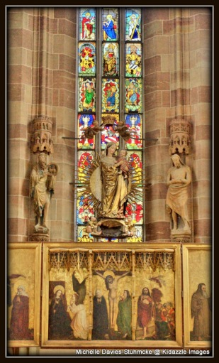 Stained glass windows in Cathedral of Our Lady, Nuremberg.