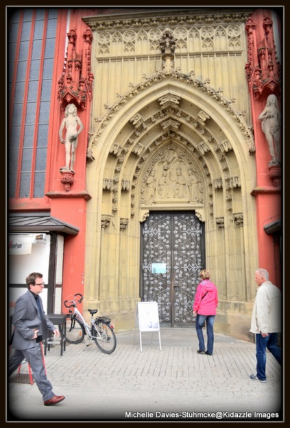 Ornate timber doorway of Marienkapelle, Wurzburg