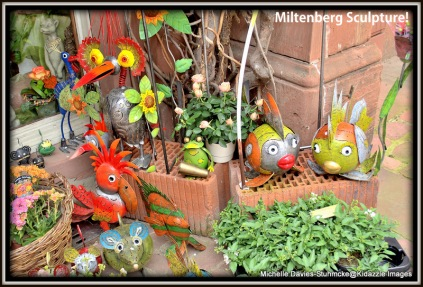 Metal sculptures outside a shop in Miltenberg, Germany