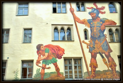 David and Goliath Mural, Regensburg, Germany.