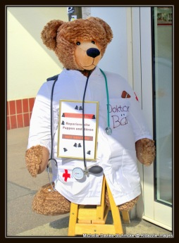 """Dr Bear"" outside of a medical centre, Regensburg, Germany."