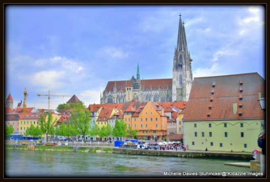 Regensburg, Germany, taken from the old stone bridge across the Danube.