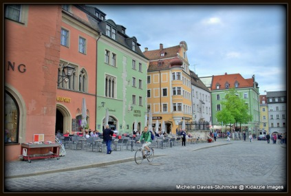 Wandering around Regensburg's cobbled streets, in Germany.