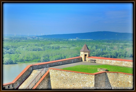 View of the Danube and surrounding Mountains from Bratislava Castle,Slovakia.