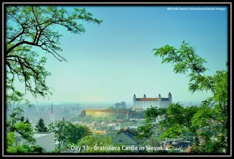 Bratislava Castle, Slovakia on a warm hazy day.