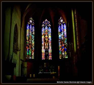 Stained Glass in the St Vitus Church, Krems, Austria.