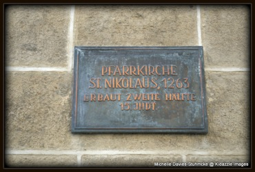 Old Brass Plate on the Parish Church of St Vitus, Krems, Austria.