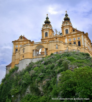 Melk Abbey sits on a rocky outcrop in Austria.