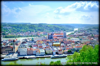 View from high on the hill overlooking the confluence of the 3 rivers, Passau, Germany