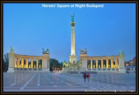 Photograph of Heroes' Square, Budapest, Hungary again taken from the bus when it was stopped.