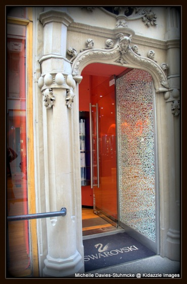 A door studded with Swarovski Crystals in the main city area in Budapest, Hungary.