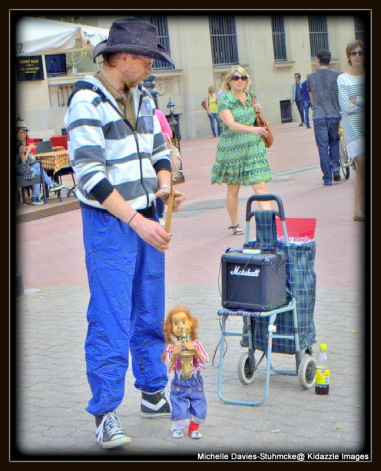 Another street performer with a marrionette puppet in Budapest, Hungary.