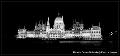 Black and White Photo of Parliament House, Hungary.
