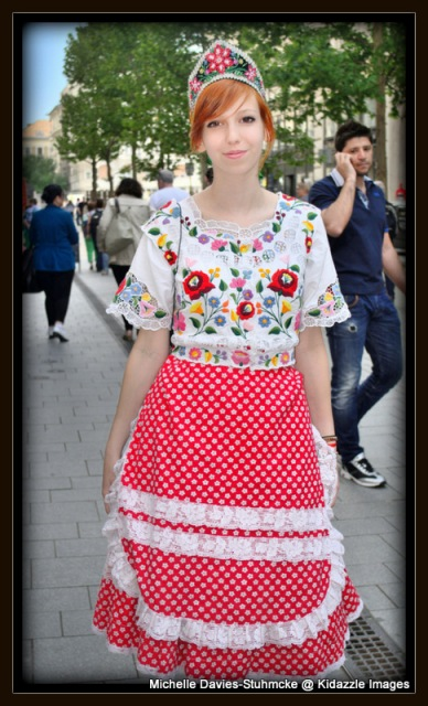Pretty girl in traditional Hungarian costume in Budapest.